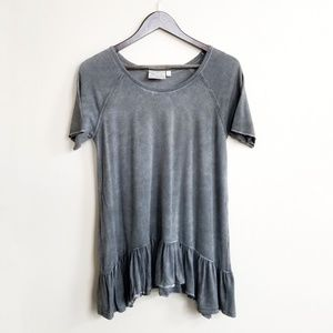 Dantelle Anthro Ruffle Hem Short Sleeve Shirt